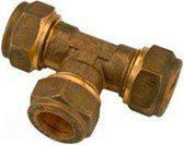 Waterklus T-stuk - 3 Knelverbindingen - Messing - 3 x 22 mm