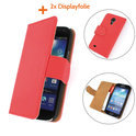 TCC Luxe Hoesje Samsung Galaxy S4 Mini Book Case Flip Cover - rood
