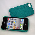 iPhone 4 hardcover Indigo-Case met leer - turquoise