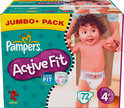 Pampers Active Fit - Luiers Maat 4+ - Jumbo Pack plus 72st