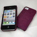 iPhone 4 hardcover Indigo-Case met leer - paars