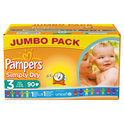 Pampers Simply Dry - Luiers Maat 3 Jumbo box 90 st.