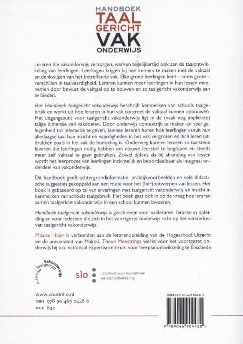 2f66191484d bol.com | Handboek taalgericht vakonderwijs | 9789046904480 | Maaike Hajer  | Boeken