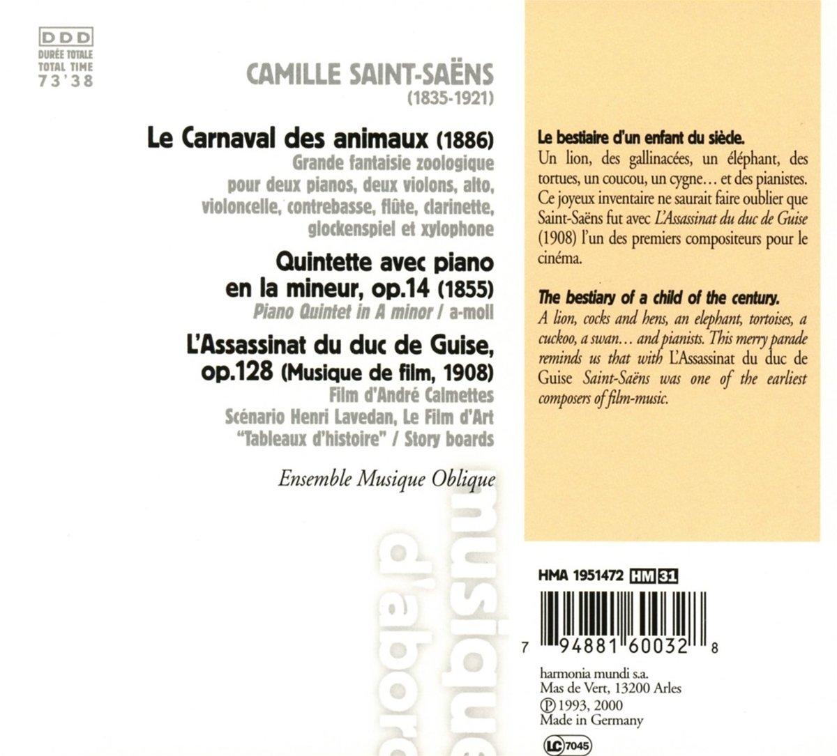 bol com | Carnaval Des Animaux, Ensemble Musique Oblique
