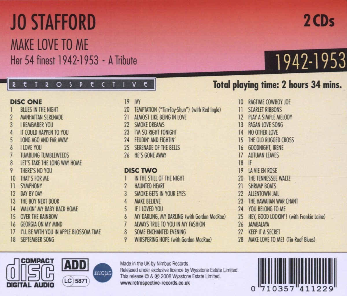 Bolcom Make Love To Me Jo Stafford Cd Album Muziek