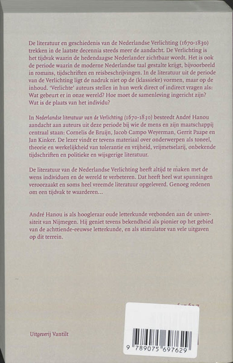 bolcom nederlandse literatuur van de verlichting 1670 1830 aj hanou 9789075697629 boeken
