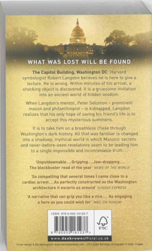 Bol The Lost Symbol Dan Brown 9780552161237 Boeken