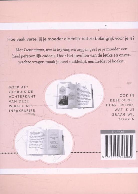 61d0d05e1be bol.com | Wat ik je graag wil zeggen - Lieve mama, Elma van Vliet |  9789000346080 | Boeken