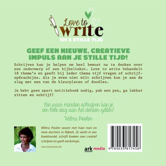 Top bol.com   Love to write, Wilma Poolen   9789033817458   Boeken @KT76