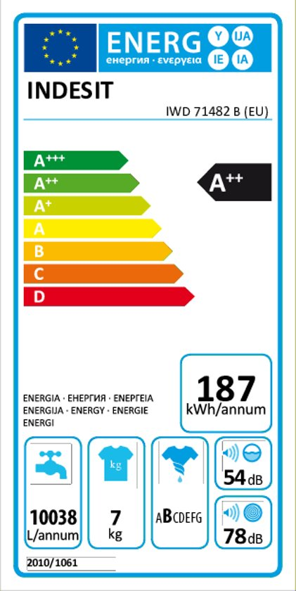 Indesit IWD 71482 B (EU) - Wasmachine