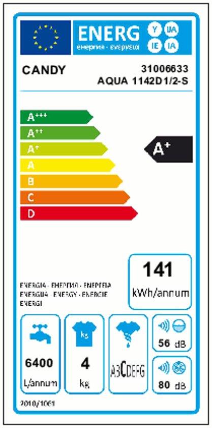Candy AQUA 1142 D1 Vrijstaand Voorbelading 4kg 1100RPM A+ Wit
