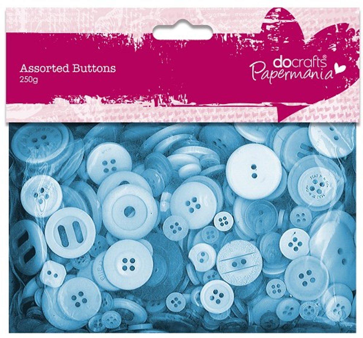 Assorted Buttons (250g) - Blue kopen