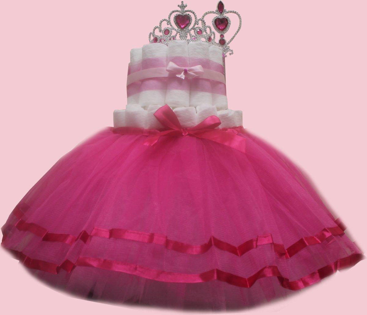 Pampertaart / luiertaart meisjes 2-laags Prinses met rokje maat 1 (2-5 kg) kopen