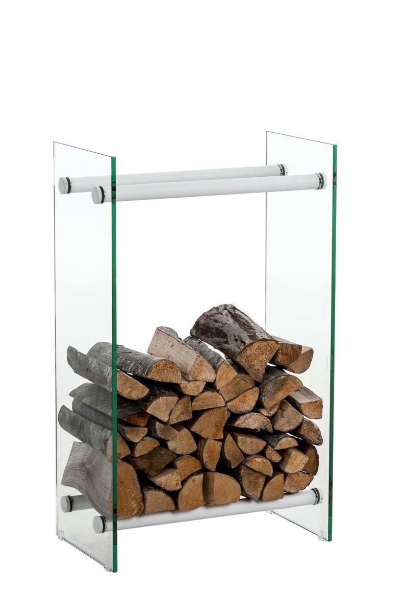 Clp Brandhoutrek DACIO, stabiele constructie, houtopslag, moderne glasplaat met vloerbeschermers, - kleur dwarsligger : wit metaal, 35x40x100 cm kopen