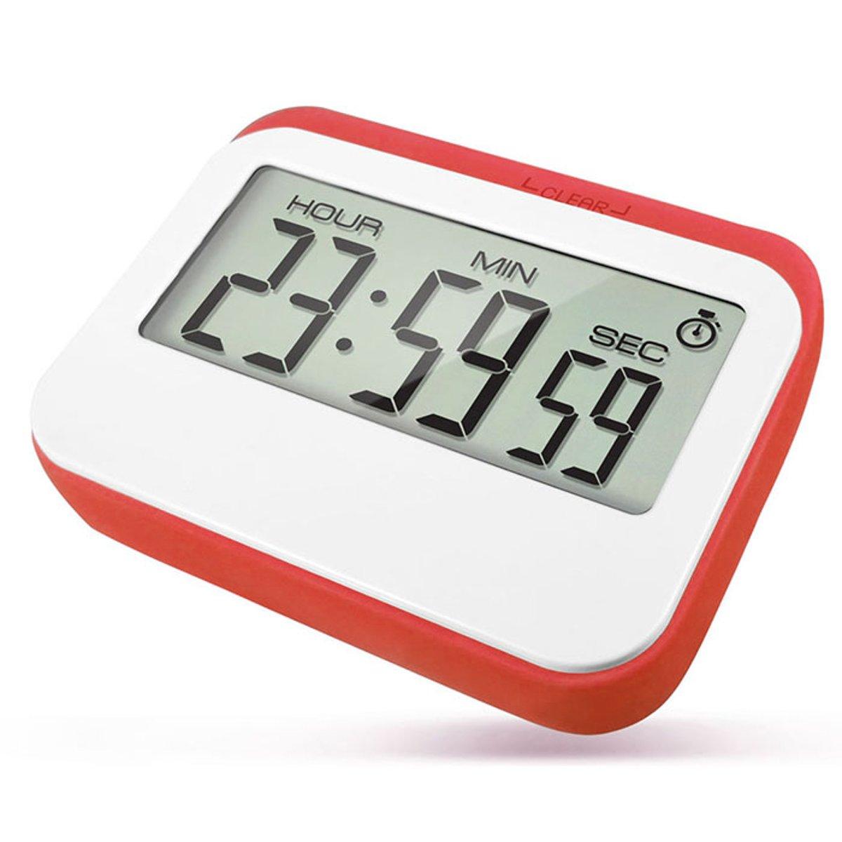 Krumble Digitale Kookwekker - Met digitale klok en alarm - Perfect voor in de keuken met magneet en rubberen stootrand - Wit met rood kopen