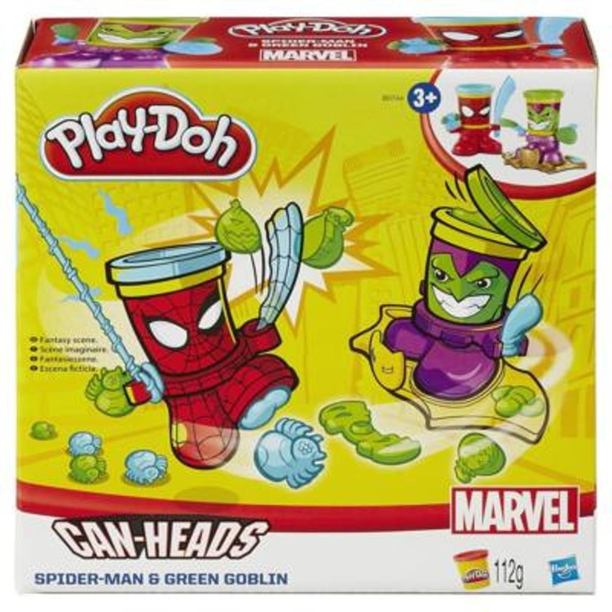 Play-doh can heads Sipderman en Green Goblin