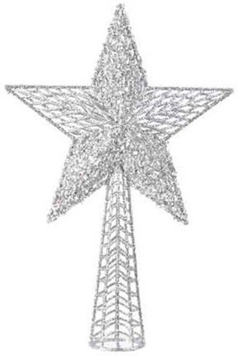 Zilveren sterren piek plastic 36.5 cm - Zilveren kerstboom versieringen kopen