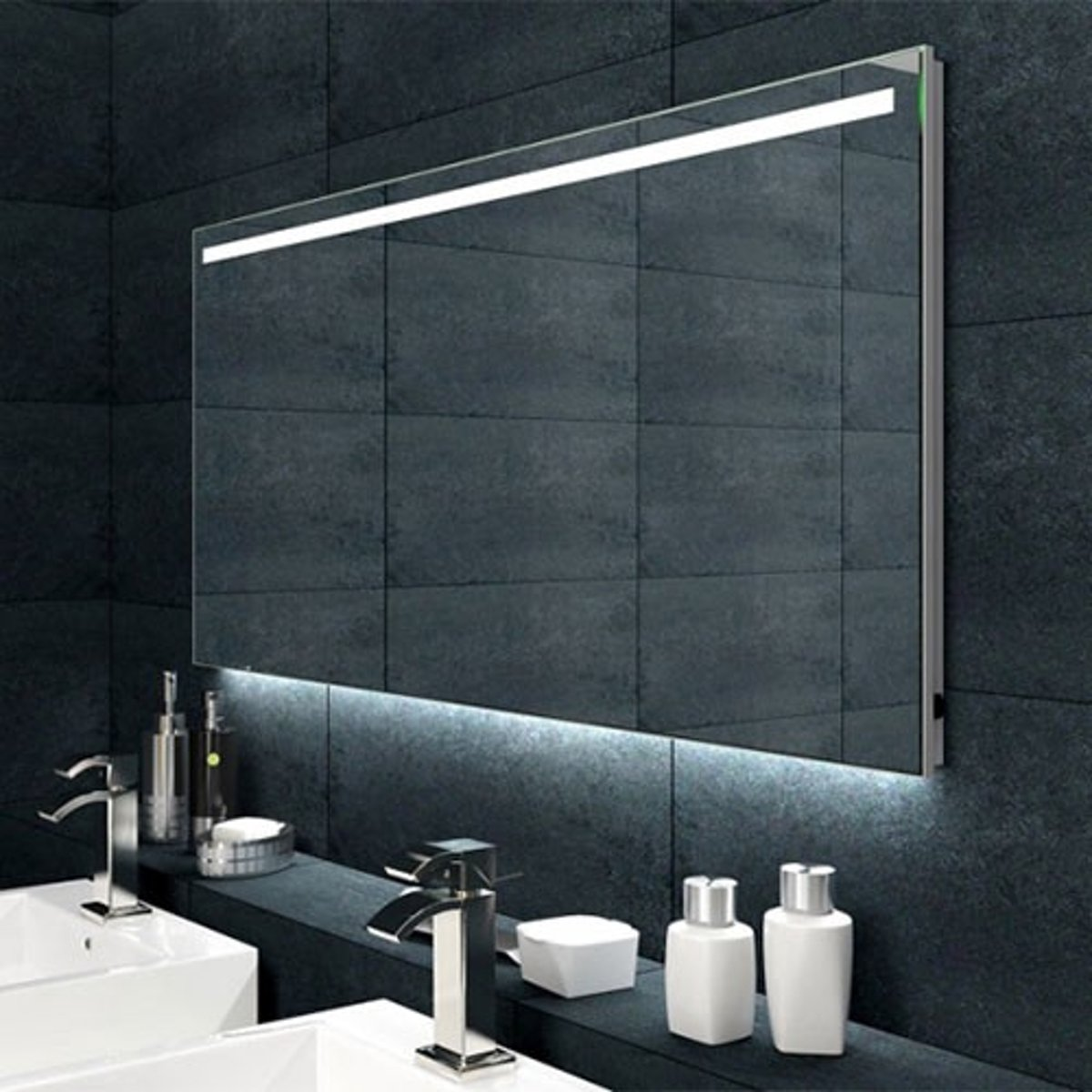 Badkamer Spiegel Met Verwarming En Verlichting.Badkamerspiegel Ambi 120x60cm Geintegreerde Led Verlichting Verwarming Anti Condens Met Lichtschakelaar