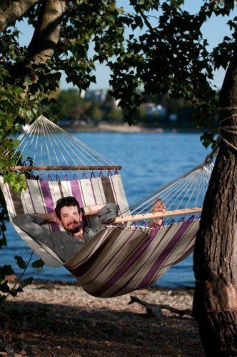 Hangmatset: Single Hammock CARIBEÑA aqua blue + Single hammock stand NEPTUNO