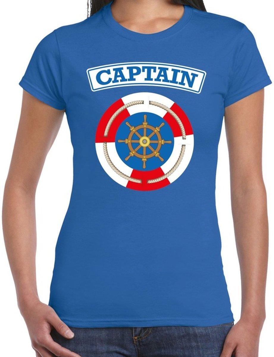 Kapitein/captain verkleed t-shirt blauw voor dames - maritiem carnaval / feest shirt kleding / kostuum XS