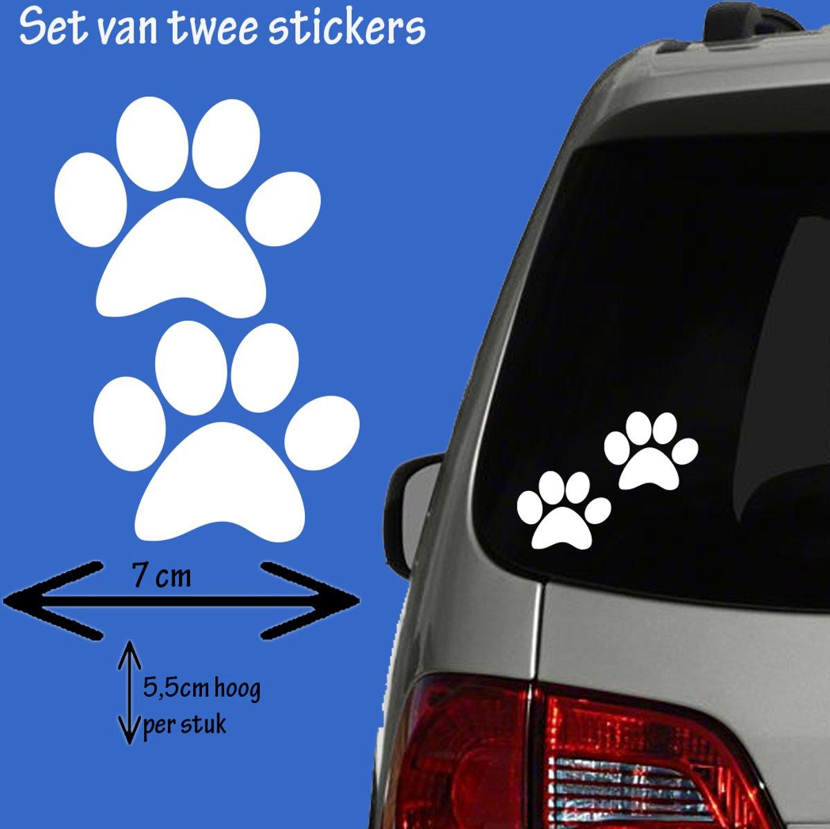Hondenpootjes / hondenpootje wit, autosticker kopen