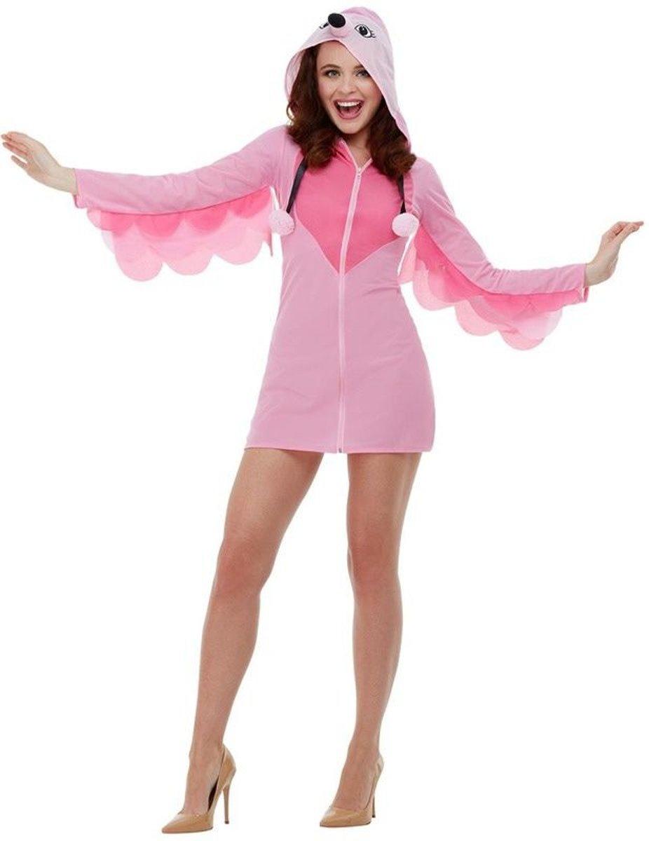 Arend & Struisvogel & Uil & Kraai & Aasgier & Toekan & Flamingo Kostuum | Sexy Roze Flamingo Op Twee Poten | Vrouw | Large | Carnaval kostuum | Verkleedkleding