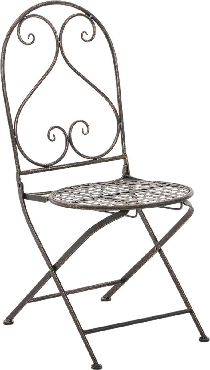 Clp Metalen klapstoel VAHAN, in nostalgisch design, tuinstoel, bistrostoel, balkonstoel, terrasstoel, patiostoel, Vouwbare tuinstoel met edele ornamen