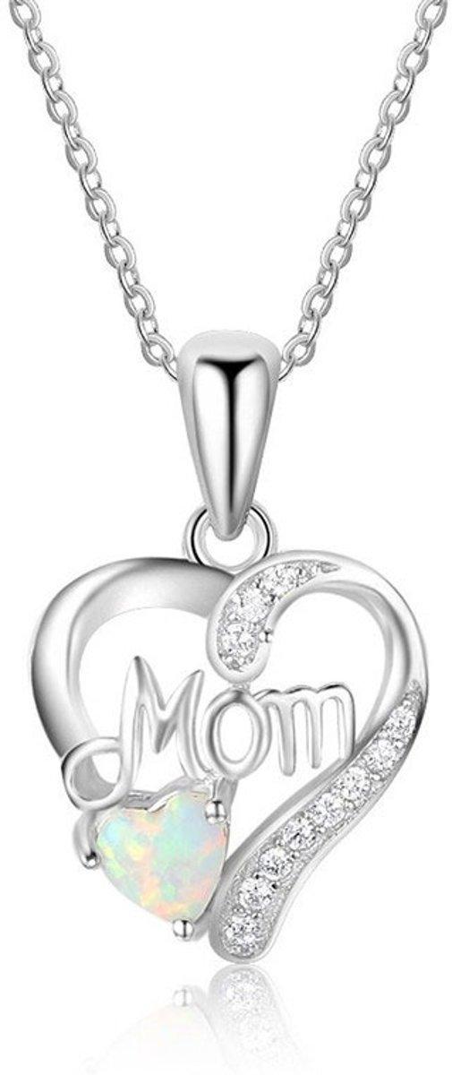 Ketting met Mom hanger -  hart hanger - moederdag cadeau - geschenk mama kopen