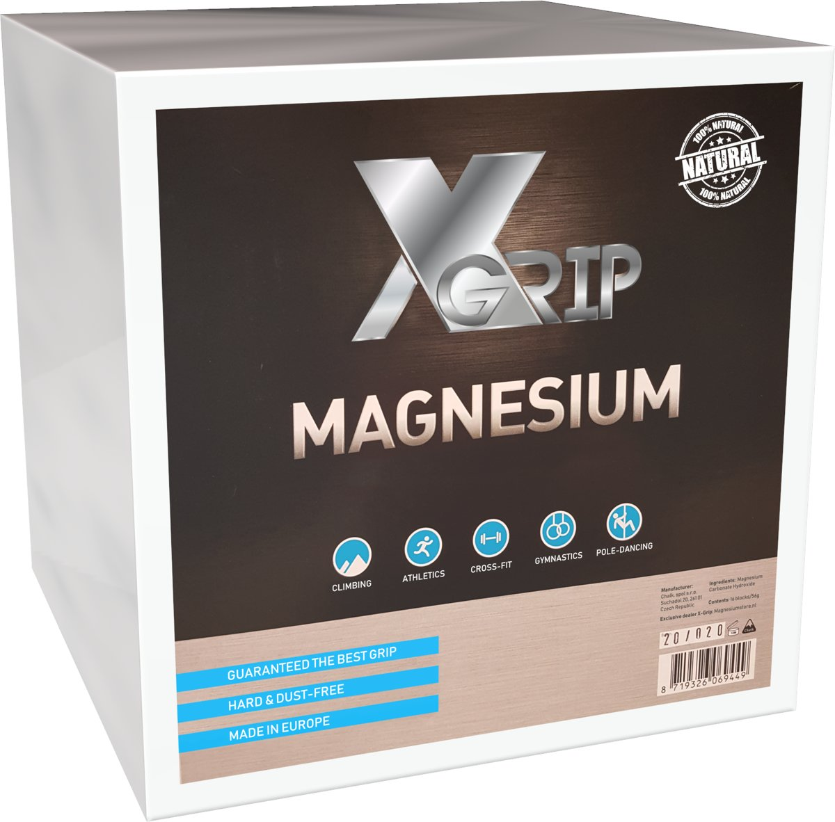 XGRIP MAGNESIUM BOX  4 Doosjes, 64 blokjes ( turnen,klimmen,sport)
