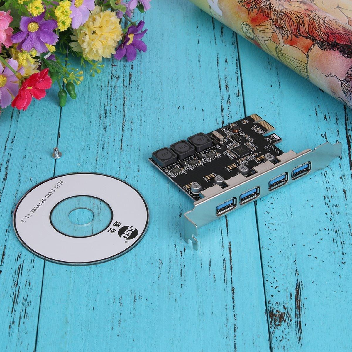 PCI Express 4-Poorts USB 3.0 Card - 5Gbps - PCIe Naar USB-A - Interfacekaart Voor Windows 7/8/10 kopen