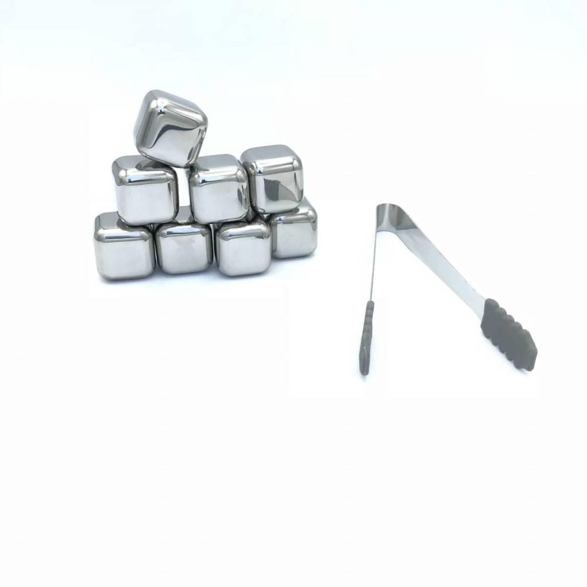 Luxe RVS whiskey stenen met ijsblokjes tang - Whiskey stones - ijsblokjes vervanger -  8 stuks kopen