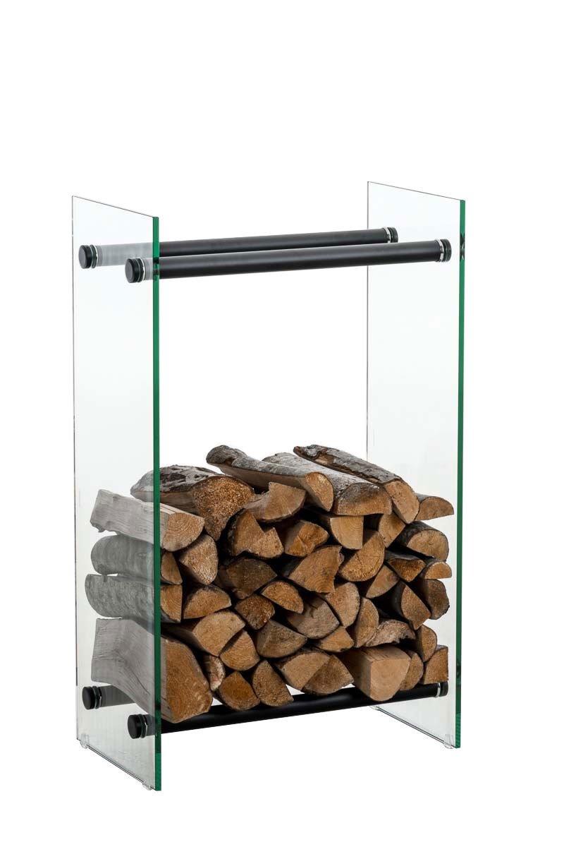 Clp Brandhoutrek DACIO, stabiele constructie, houtopslag, moderne glasplaat met vloerbeschermers, - kleur dwarsligger : zwart metaal, 35x40x125 cm kopen