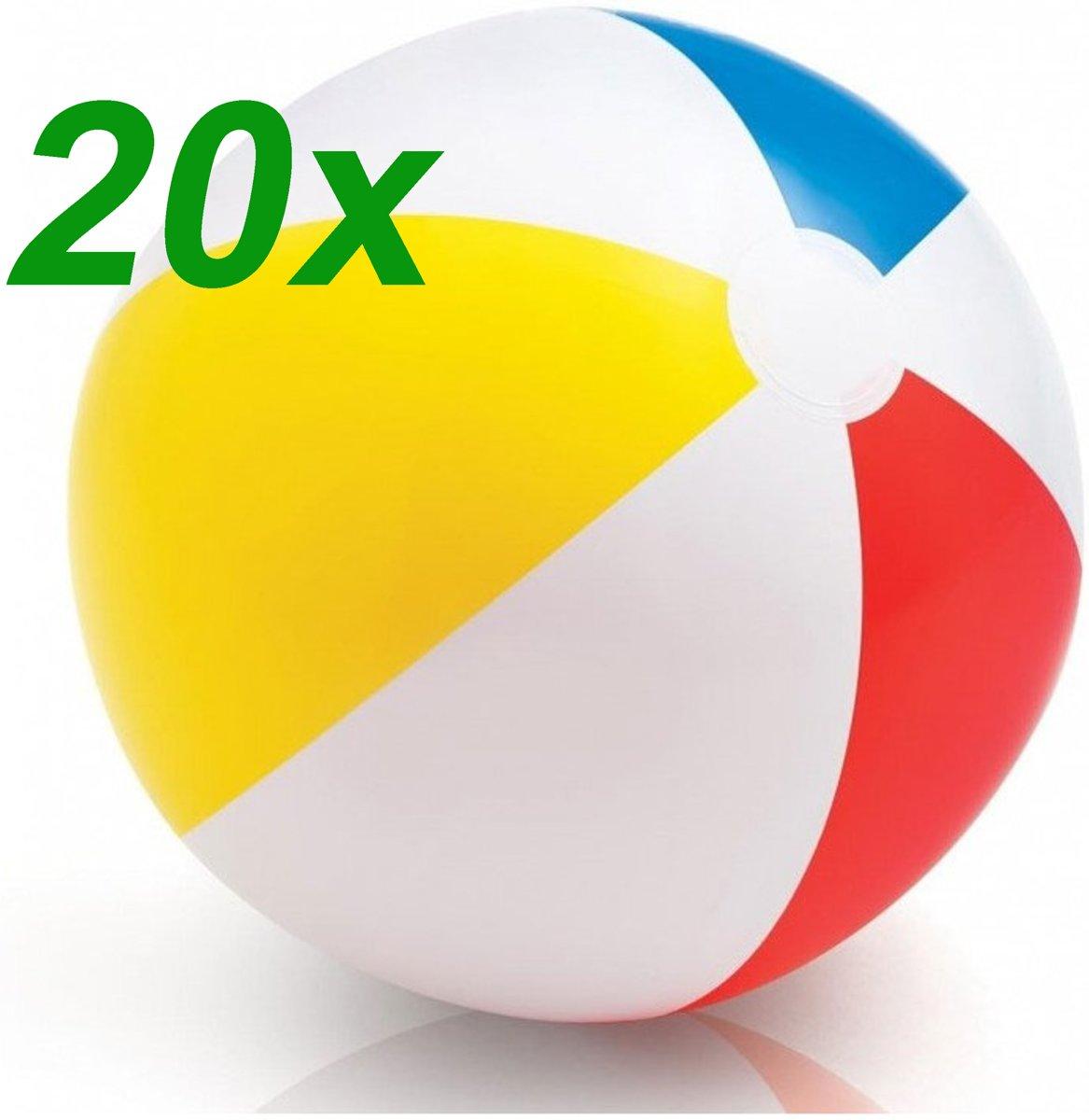 Set 20 x Opblaasbare Geel Rood Blauwe Witte Kinder Strandbal - Vanaf 2 Jaar | Peuter | Opblaasbaar | Zwembad Speelgoed | Strand Bal
