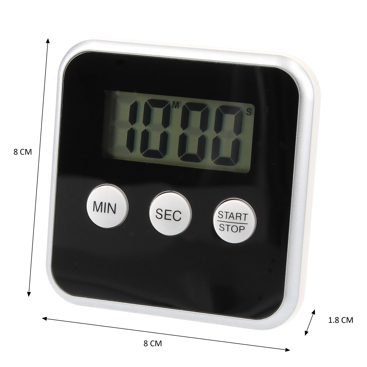 Digitale Timer Zwart – 8x8cm | Timer voor Koken | Kookwekker met Magnetisch Bevestigingssysteem kopen