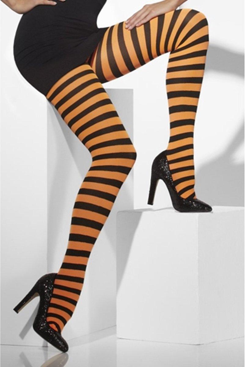 Gestreepte Panty - Oranje & Zwart