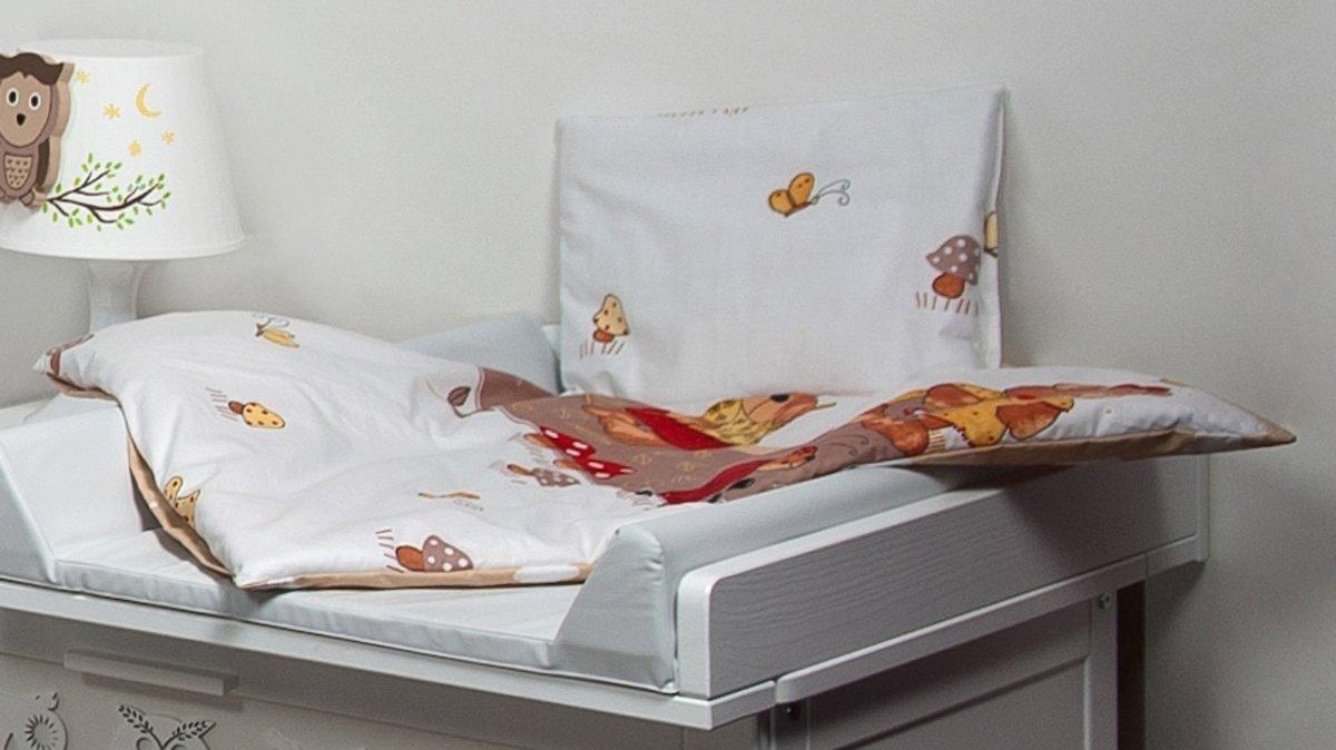 Beddengoed set voor ledikant - dekbed 70x50cm - incl. kussen - teddyberen in een tuin beige kopen