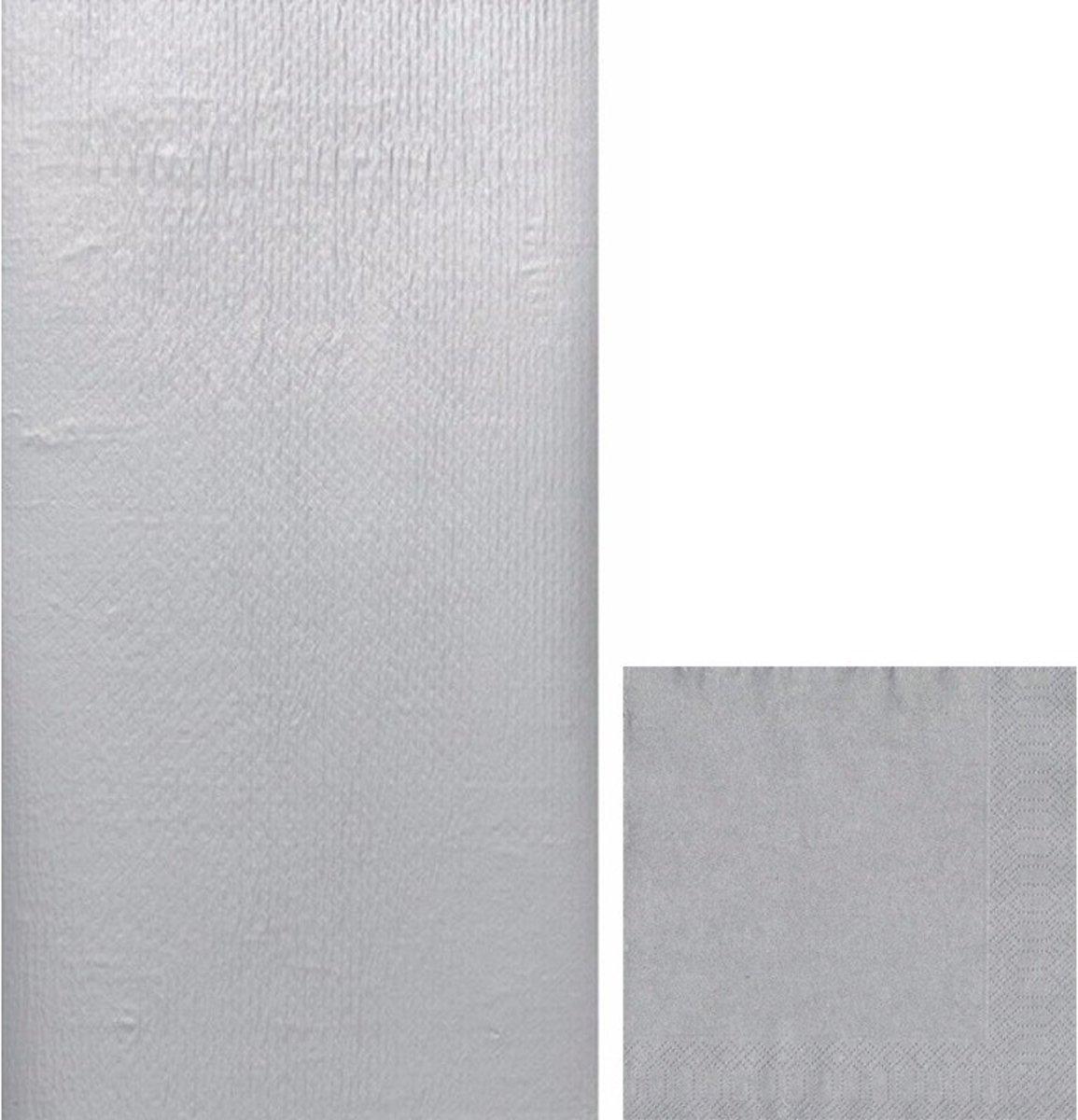 Zilveren tafeldecoratie set tafelkleed/servetten - Thema zilver - Papieren tafeldecoraties/versieringen