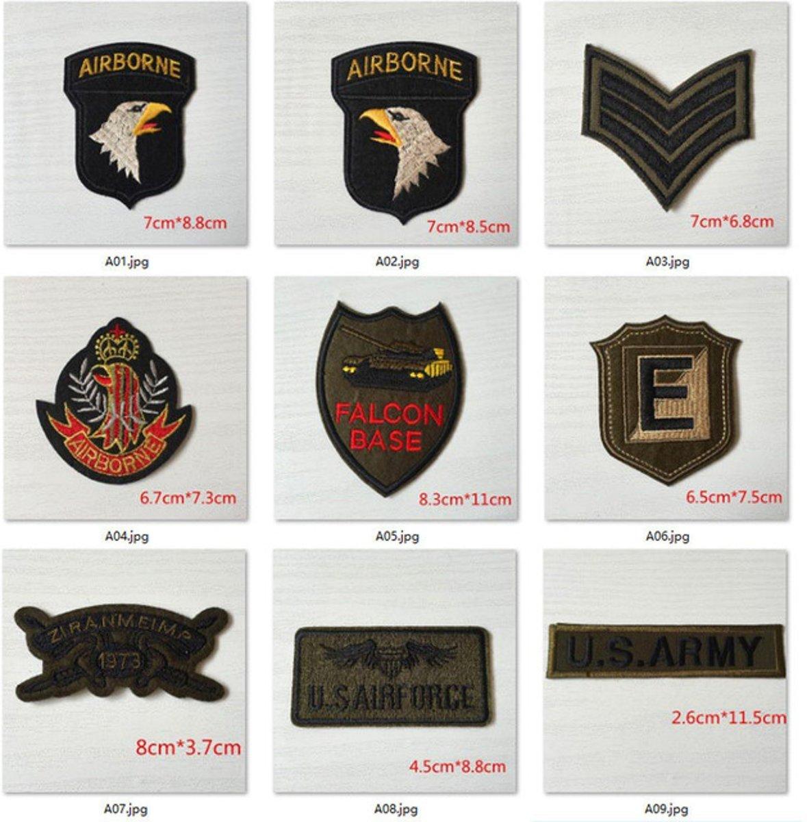 Stijkpatches Army - Personaliseer je Jeans, Spijkerjack, of Shirt - Strijk Patches en Badges Leger Militairen en Luchtmacht - 9 Stuks kopen