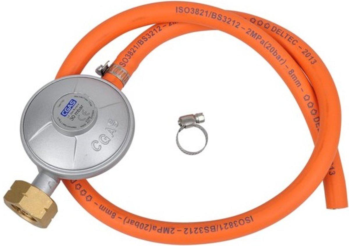 Gasdrukregelaar met EFV-Technologie - incl. 70 cm slang en 2 Klemmen - CE Gecertificeerd - Gas Druk - Drukregelaar - Gas Regelaar kopen