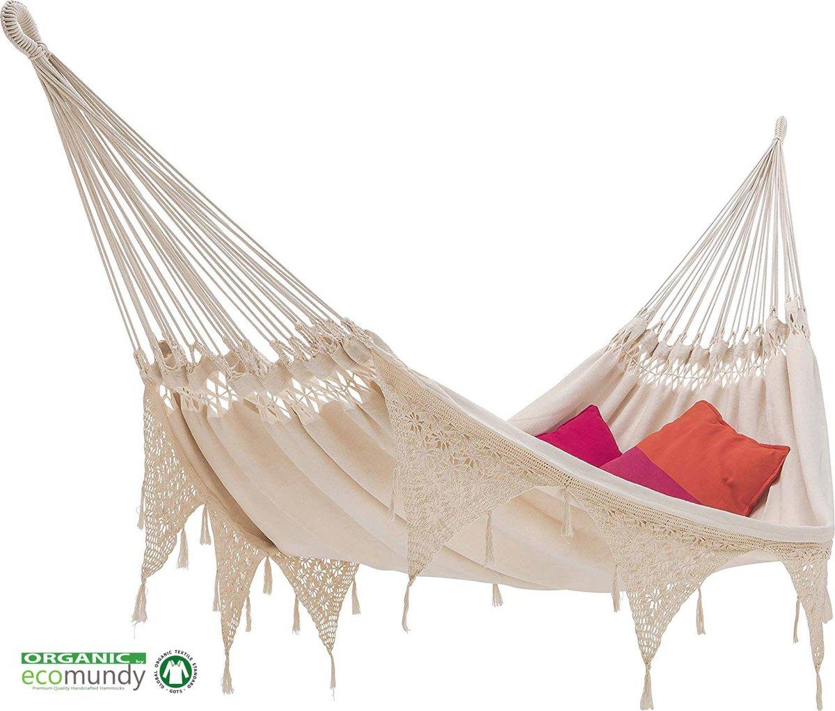 Ecomundy Ibiza XL- Luxe boho stijl hangmat met franje - Biologisch katoen GOTS - 160x240x380cm