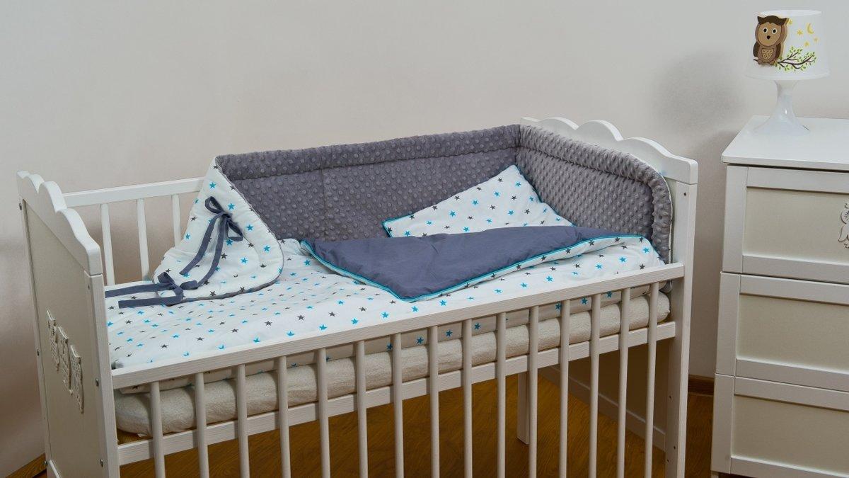 Beddengoed set - 3 delig - Minky Fleece stof - voor ledikant - grijs en turquoise sterren kopen