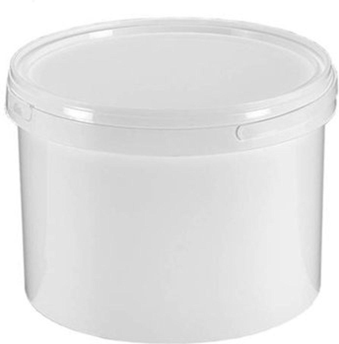 Witte emmer 3,3 liter, Ø199mm. met deksel. 150 stuks kopen