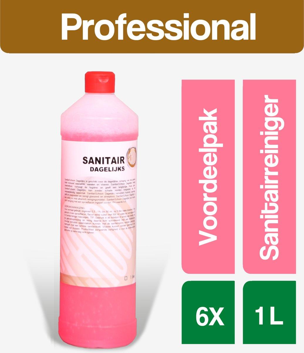 Sanitairreiniger SanitairSchoon (dagelijks) 6x1 Liter - Voordeelverpakking kopen