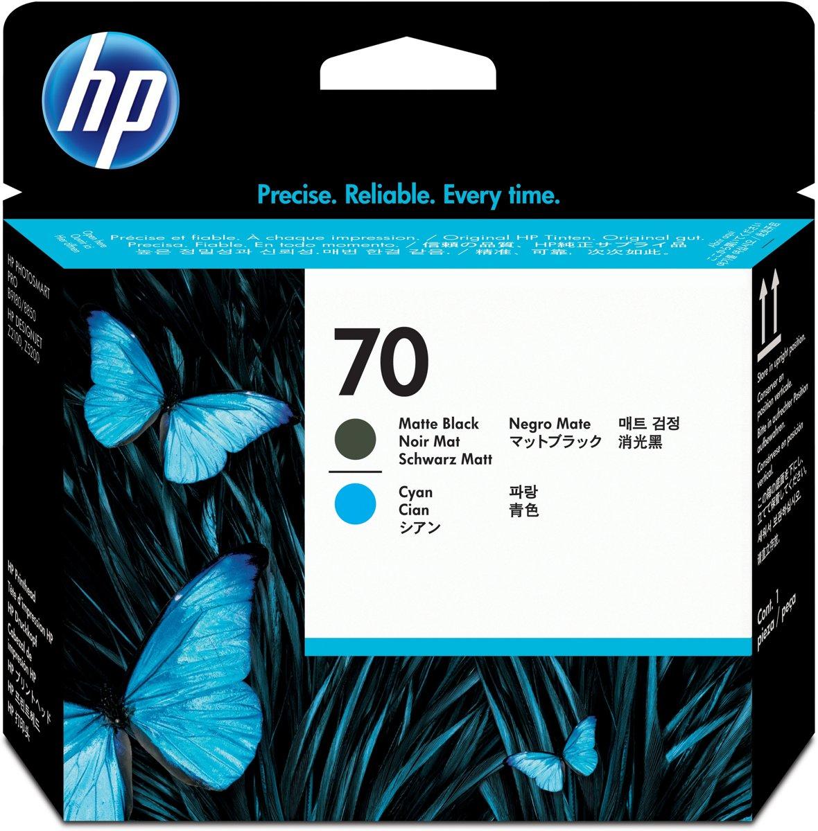 HP 70 - Printkop / Mat Zwart / Cyaan