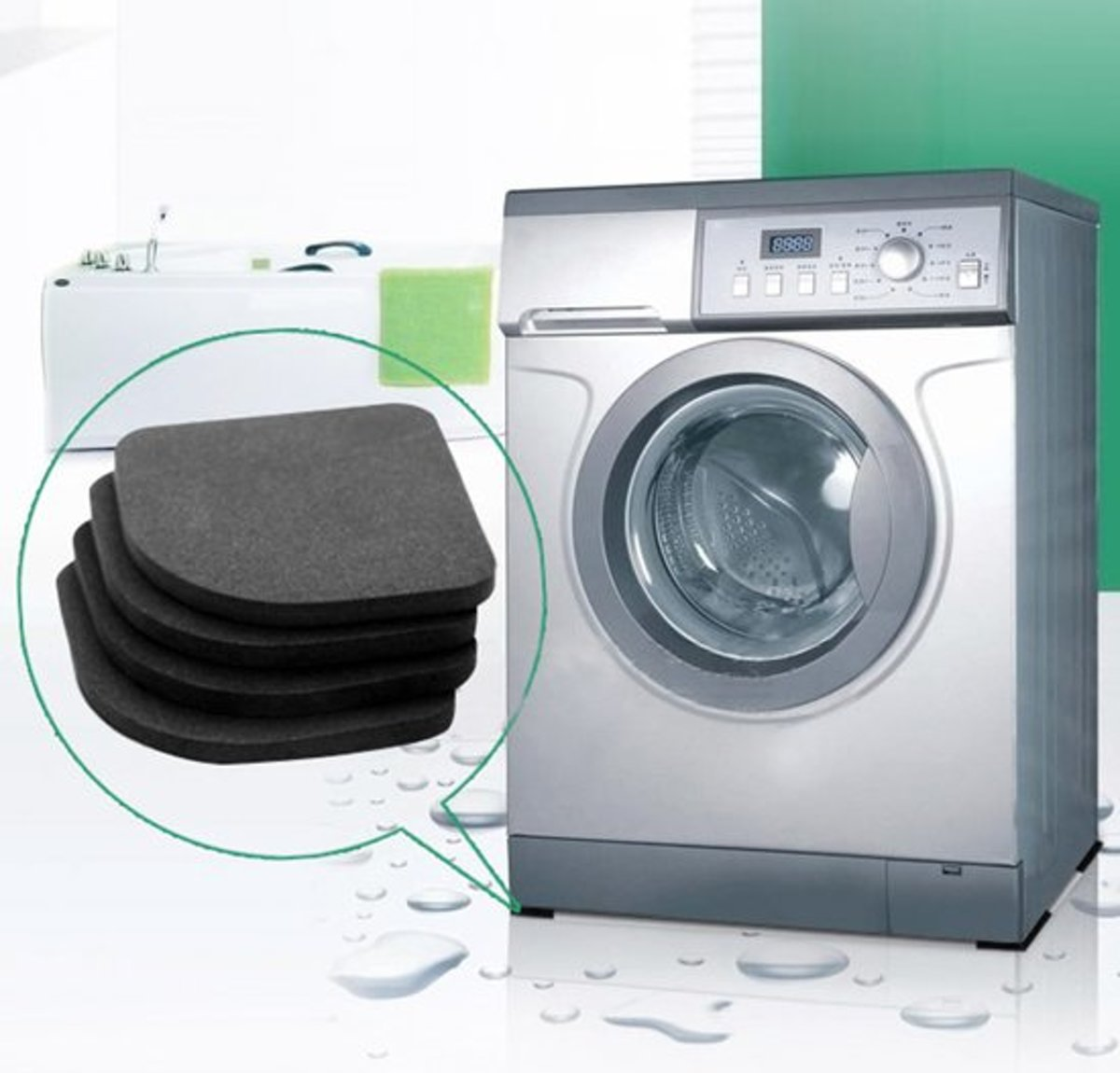 Wasmachine trillingsdemper –  wasmachine dempers - Vibratie Dempers Pads - Zwart – 8 Stuks kopen