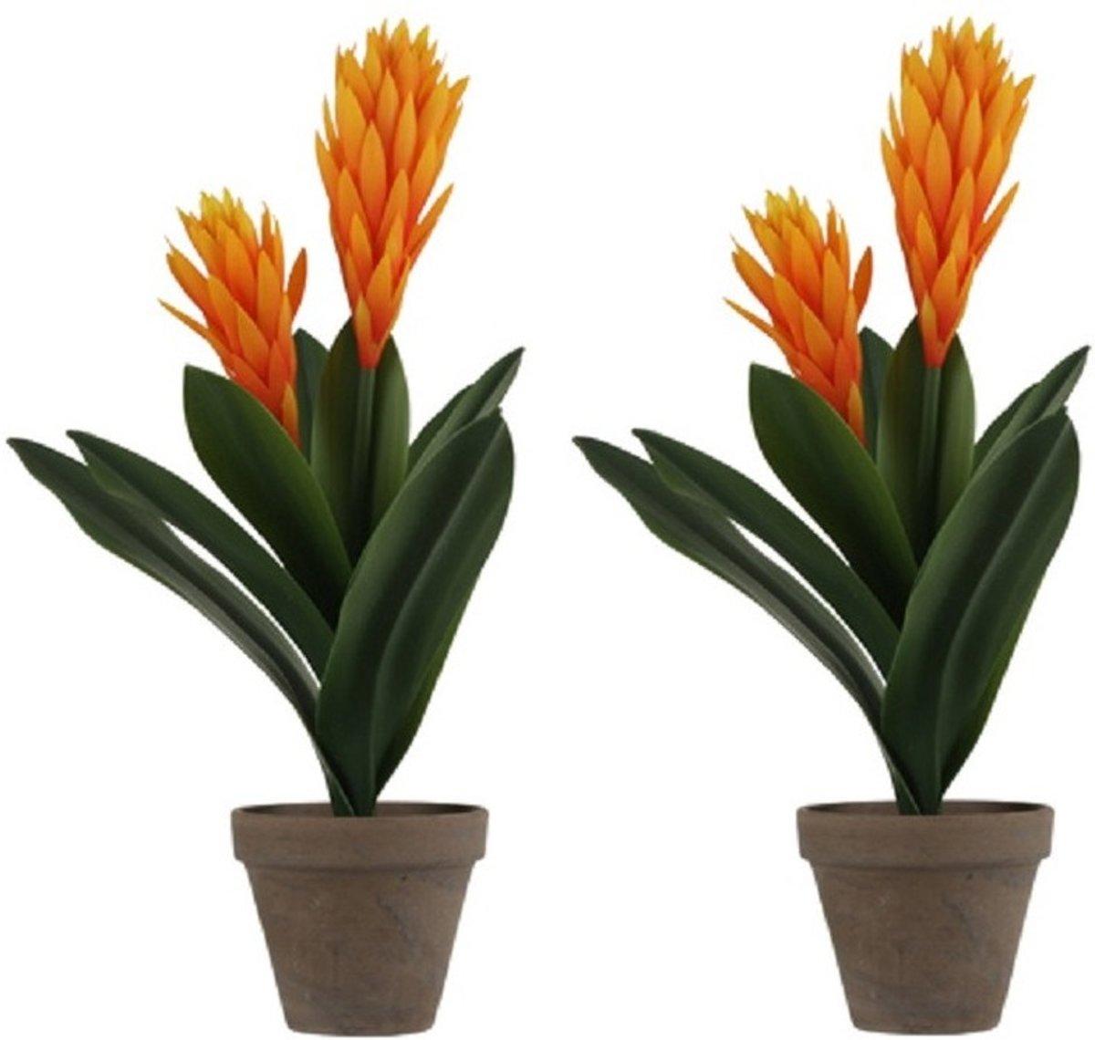 2x Oranje Bromelia kunstplant 45 cm in grijze plastic pot - Kunstplanten/nepplanten kopen