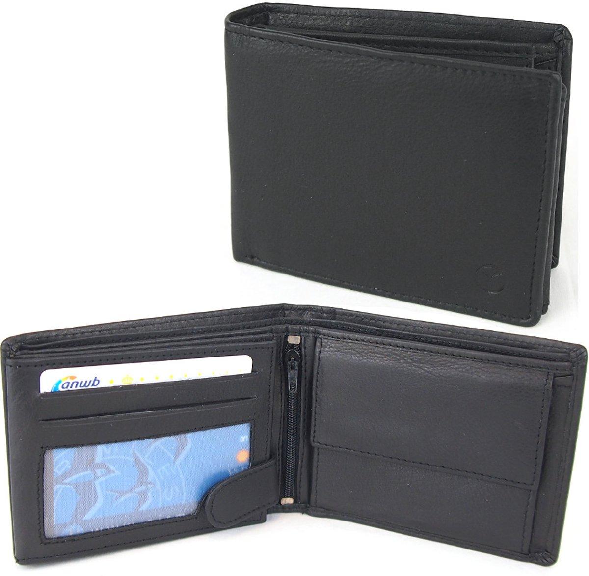 31054429472 Heren Portemonnee - Billfold Portemonnee- 10 pasjes - Leer - RFID - Zwart