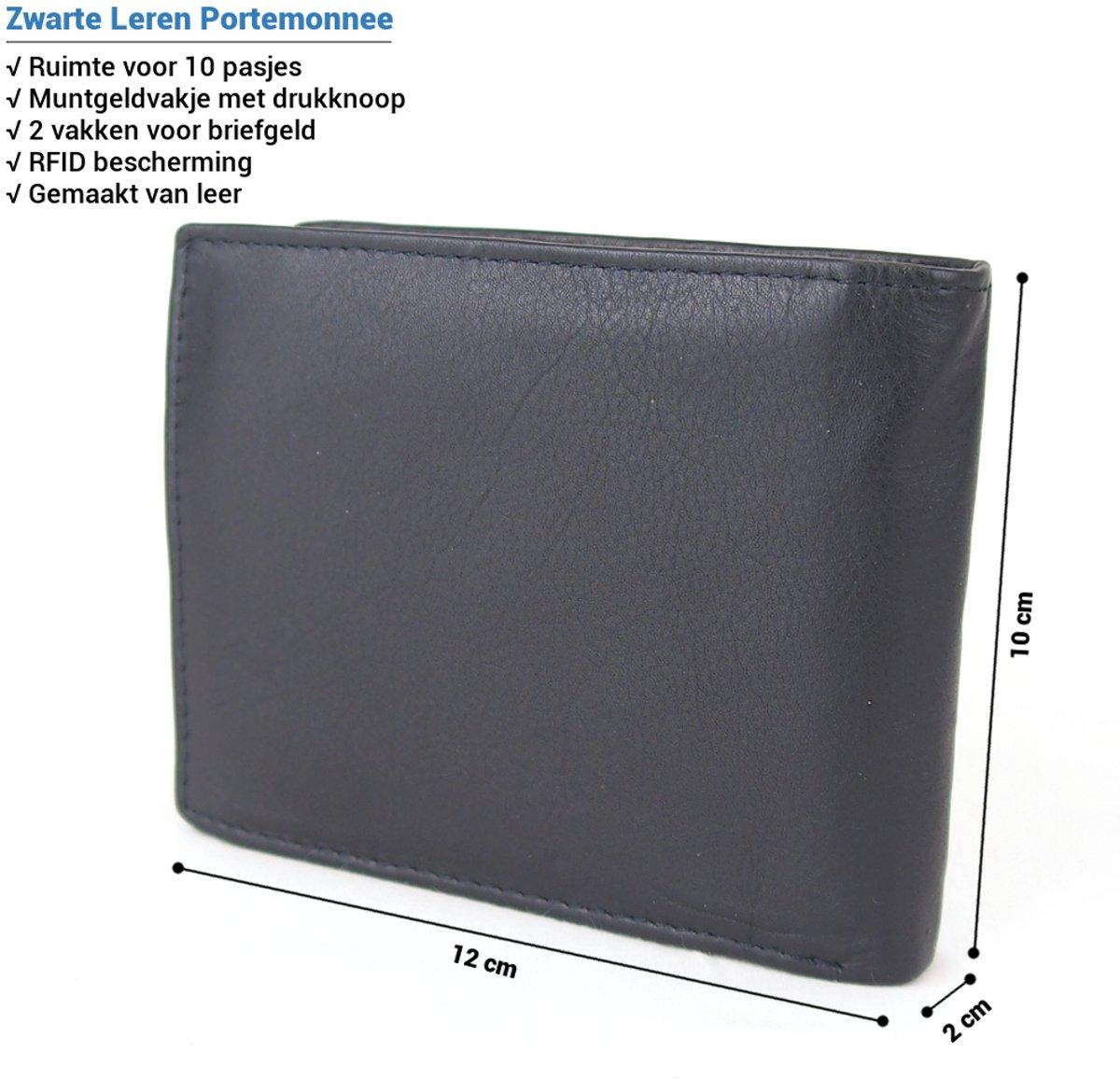83ff2e3f815 bol.com | Heren Portemonnee - Billfold Portemonnee- 10 pasjes - Leer - RFID  - Zwart