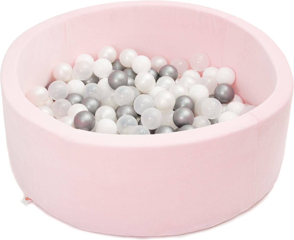 FUJL - Ballenbak - Speelbak - Roze - ⌀ 90 cm - 200 ballen - Zilver - Parel - Wit - Transparant