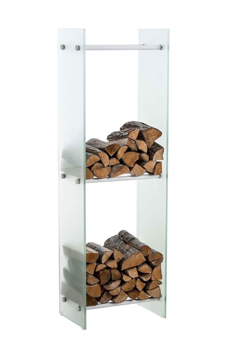 Clp Brandhoutrek DACIO, stabiele constructie, houtopslag, moderne glasplaat met vloerbeschermers, - kleur dwarsligger : wit metaal, 35x35x160 cm (6 dwarsliggers) kopen